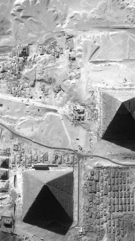 space satellite egypt grayscale giza pyramids outerspace