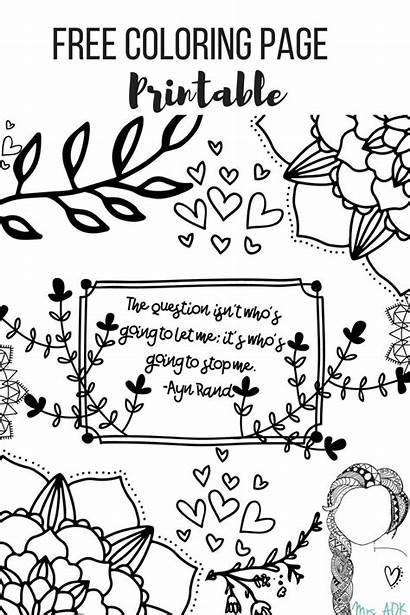 Coloring Quote Printable Mrsaokaworkinprogress Pages Rand Ayn