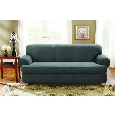 two cushion sofa slipcover sure fit stretch suede sofa 2 piece t cushion slipcover