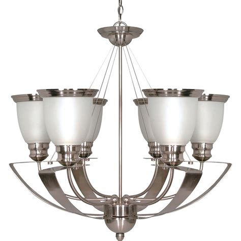 6 Light Chandelier With Shades by Glomar Palladium 6 Light 25 Inch Chandelier With Satin