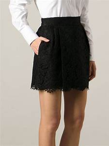 Lyst - Valentino Lace Skirt in Black