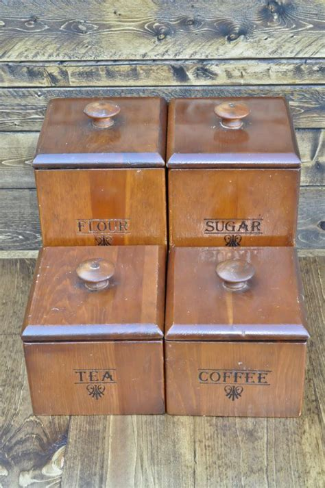 wooden canisters kitchen wooden canister four set flour coffee tea