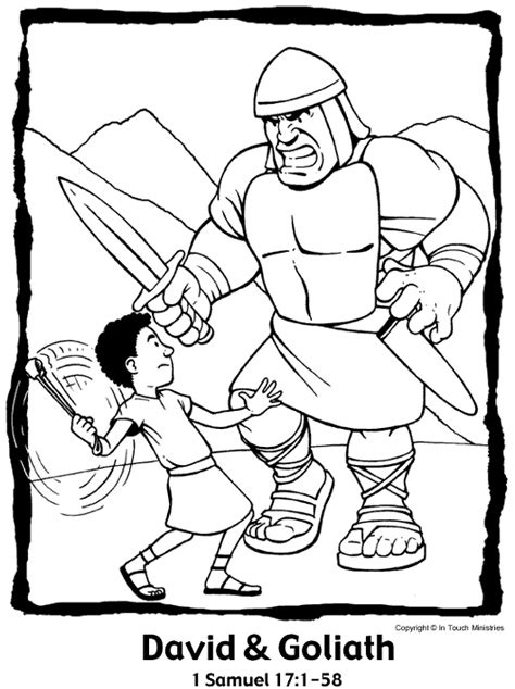 bible story coloring pages rocky mount preschool church 340 | david and goliath color