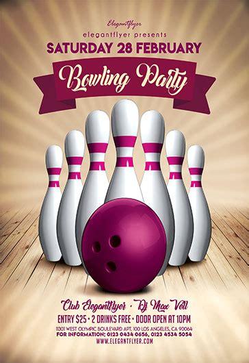 bowling party  flyer psd template  elegantflyer