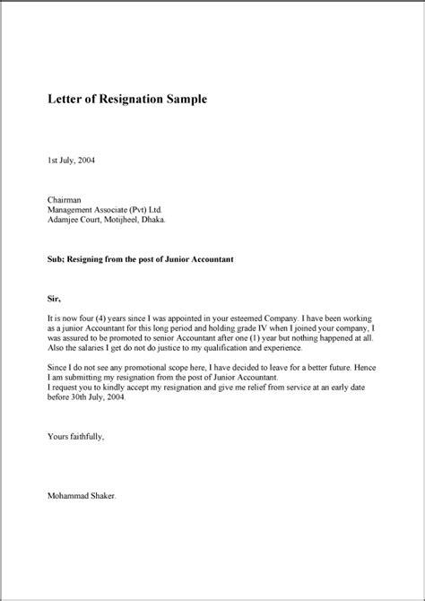 letter  resignation sample template   format