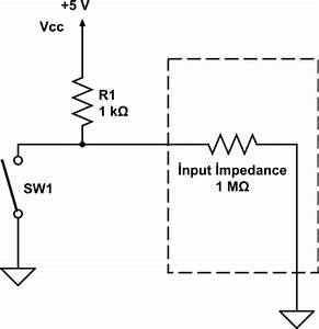microcontroller considering input pin impedance when With pull up circuit
