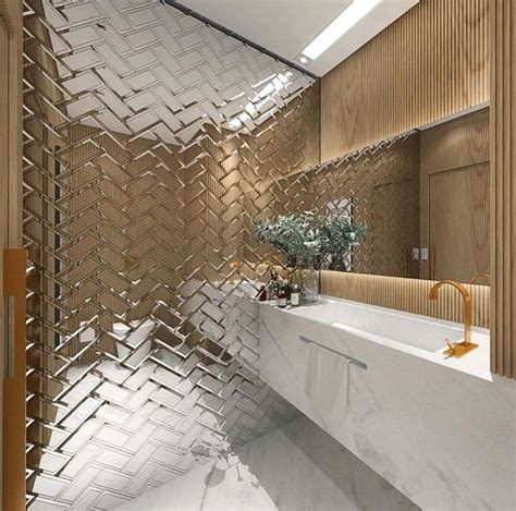 Tiled Bathroom Mirrors by These Mirrored Tiles Create A Cascading Effect Ensuite