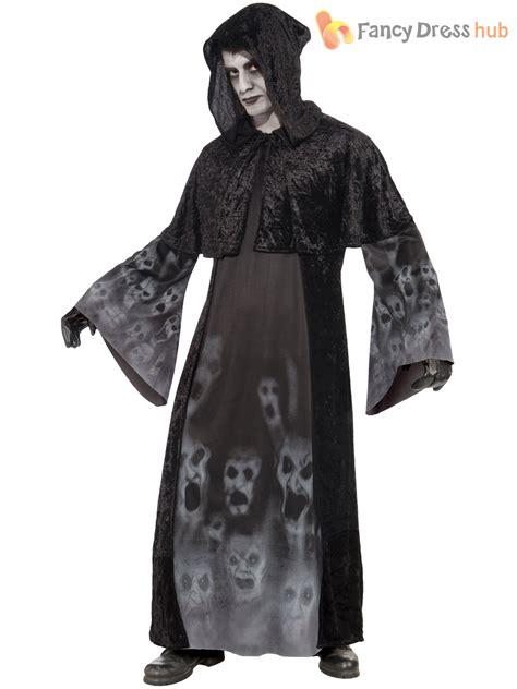 Deluxe Mens Demon Grim Reaper Robe Halloween Fancy Dress Outfit Scream M L XL | eBay
