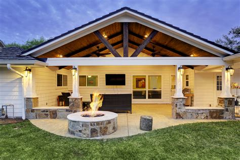 custom patio roof patio cover with fire pit houston texas custom patios
