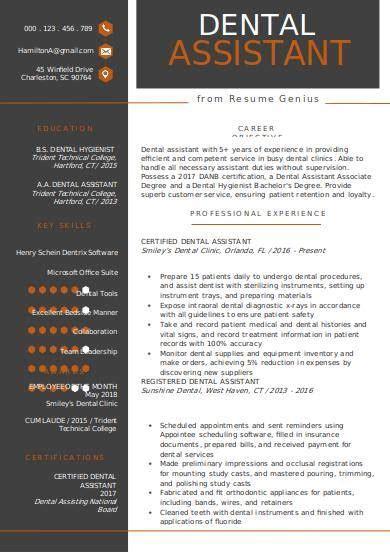 free 8 dental assistant resume sles in pdf word