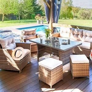 Salon De Jardin Beige : salon de jardin panama naturel beige 7 places salon de jardin table et chaise eminza ~ Teatrodelosmanantiales.com Idées de Décoration