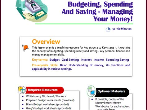free spending and budgeting lesson plan for ks2 to ks3 by moneysmartworld teaching resources