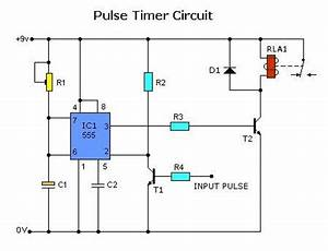 pulse timer control relay circuit with ic555 diagram and With time relay circuit