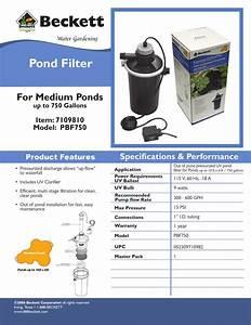 Beckett Pond Filter Pbf750 Specifications Pdf Download