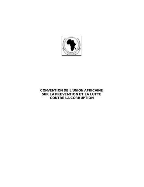 union africaine si鑒e convention de l union africaine contre la corruption