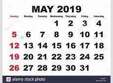 Simple 2019 Year Calendar Imágenes De Stock & Simple 2019