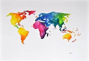 Carte Du Monde Design : monde abstrait carte aquarelle originale monde color carte ~ Teatrodelosmanantiales.com Idées de Décoration