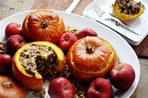turkey wild rice apple  cranberry stuffed pumpkins