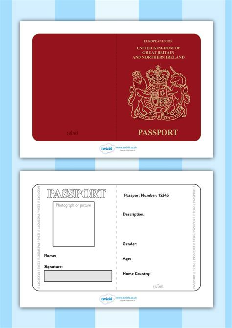 twinkl resources british passport template printable