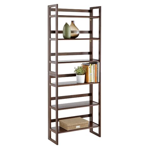 container store folding bookcase java solid wood stackable folding bookcase the container