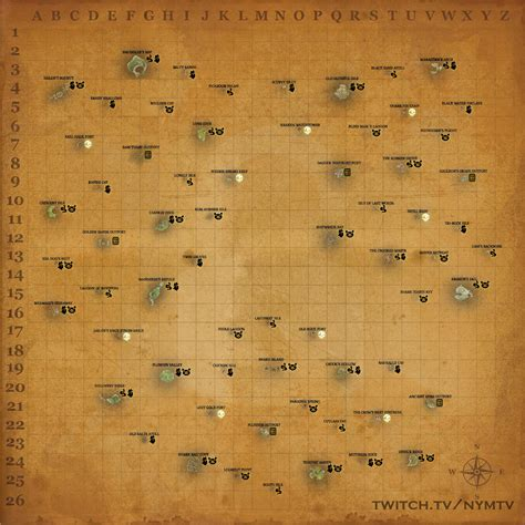 sea  thieves world map  animal spawns forts