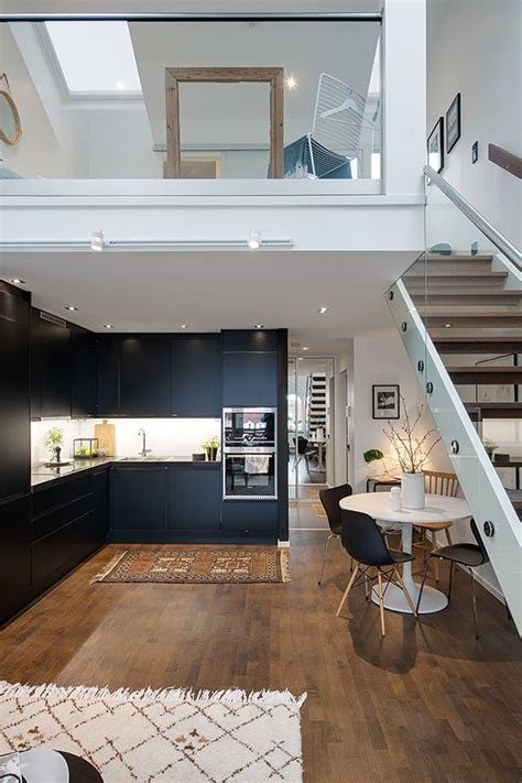 Small Home Designs With Lofts by Compact And Charming Duplex Apartment In Sweden Kitchens