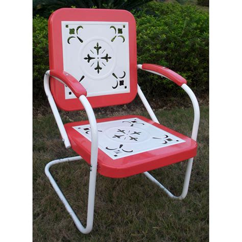 retro metal outdoor chair white coral sled base