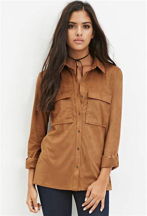 faux suede button shirt  natural lyst