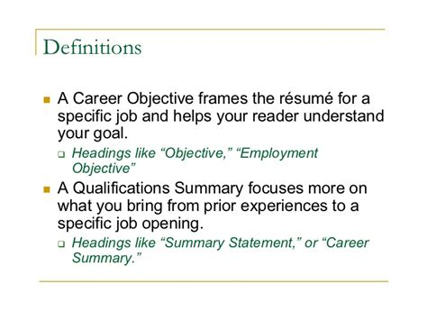 objective and career summary for best free home