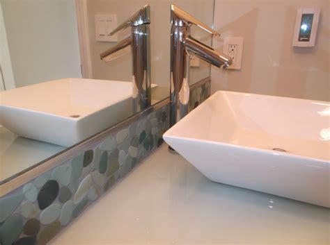 Green Bathroom Backsplash by Sliced Sea Green Pebble Tile Bathroom Vanity Backsplash