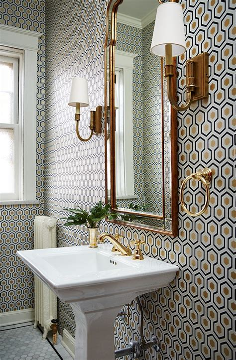 Small Bathroom Wall Sconces by Small Bathroom With A Lot Of Pattern On Wall Wallpaper