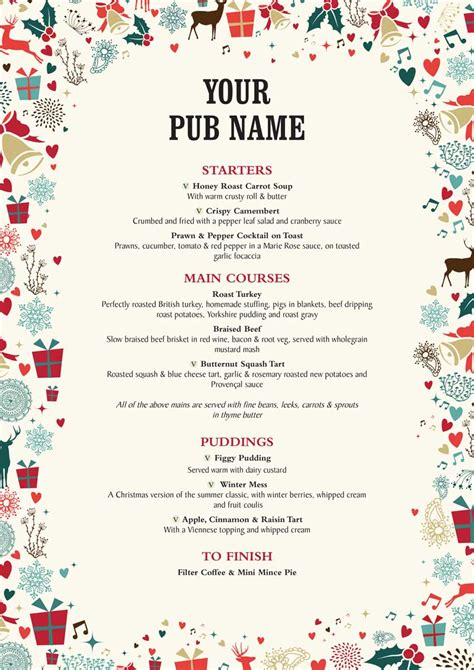 christmas food menu artwork  hall  woodhouse
