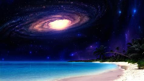 beach outer space multicolor stars palm galaxies wallpaper