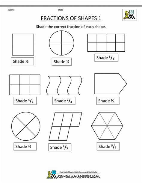 3rd Grade Math Worksheets Fractions Worksheet Mogenk Paper Works