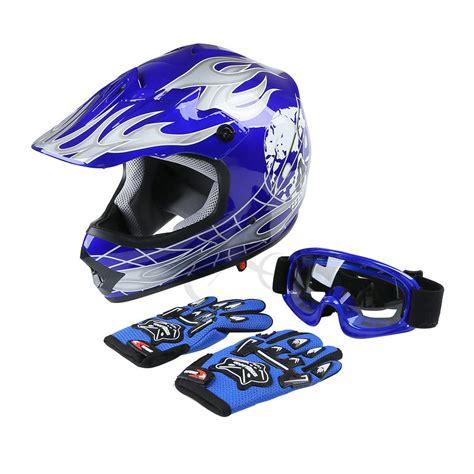 skull motocross helmet dot youth kids blue skull dirt bike atv helmet motocross