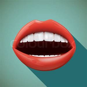 Icon Human Mouth  Flat Design  Stock Vector Illustration