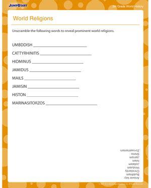 world religions free world history printable worksheets