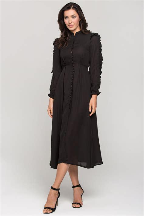 Midi Dress Dress Ola By Ladiva black vintage ruffle neck sleeves midi dress
