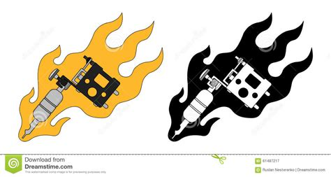 classic tattoo machine  flame color silhouette stock