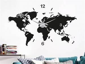 Wandtattoo Weltkarte Uhr : wandtattoo uhr weltkarte von klebeheld de ~ Sanjose-hotels-ca.com Haus und Dekorationen