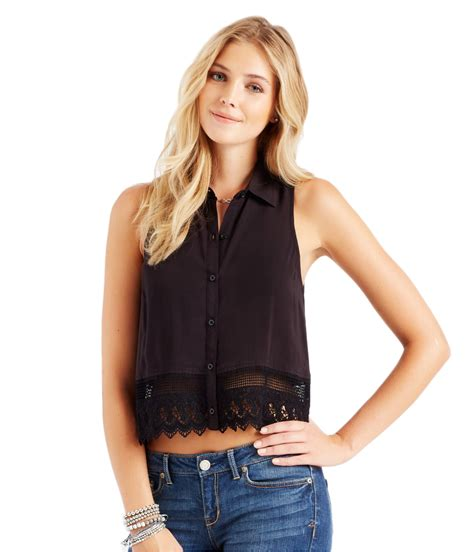 sleeveless button blouse aeropostale womens sleeveless lace button blouse ebay
