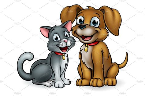 cat  dog pets cartoon characters illustrations
