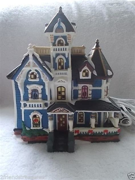heartland valley village porcelain lighted house blue