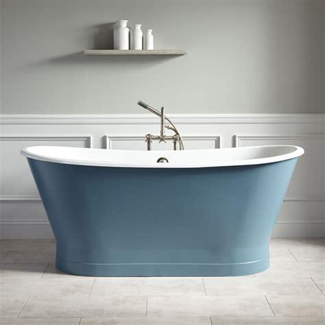 kateryn bateau cast iron skirted tub slate blue
