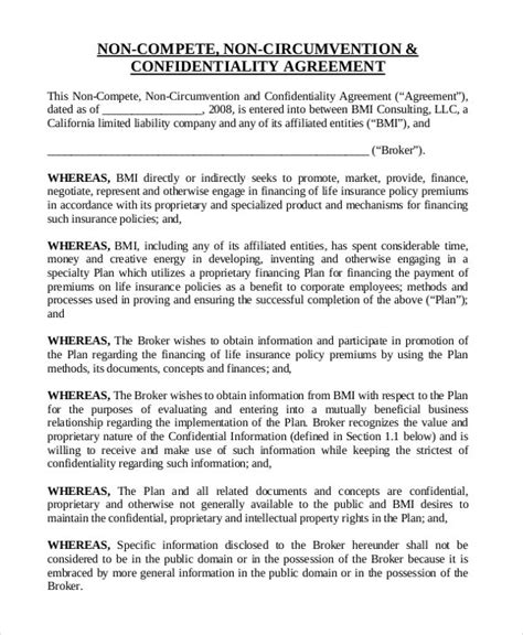 insurance  compete agreement template   word