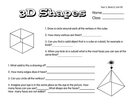 solid properties a year 5 3d shapes worksheet