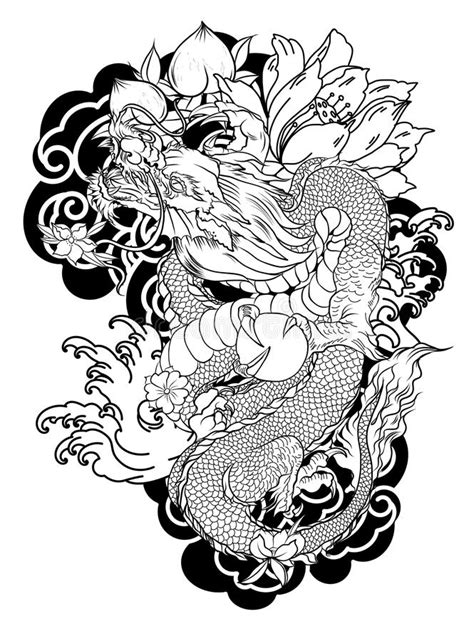 Japanese Koi And Dragon.Hand Drawn Geisha Girl And Kitten On Wave Background.old Dragon With