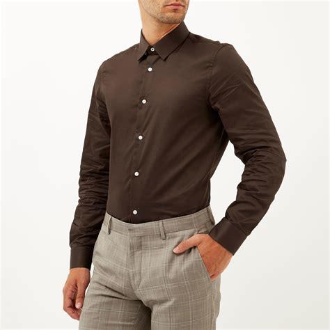 river island chocolate brown long sleeve shirt  brown