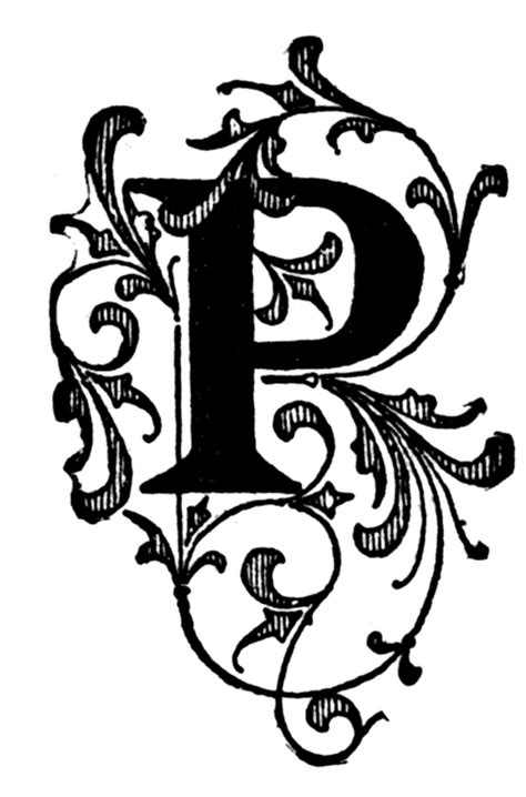 P, Floral initial | ClipArt ETC