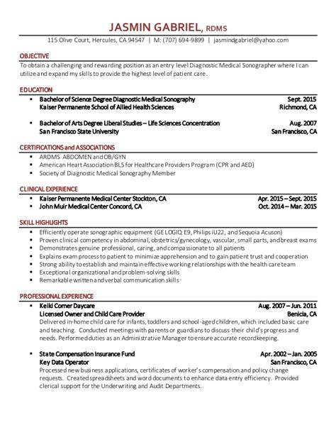 Diagnostic Sonographer Resume Sle by Sonographer Resume Gabriel
